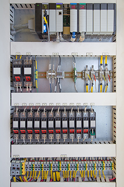 Siemens PLC connected to relays